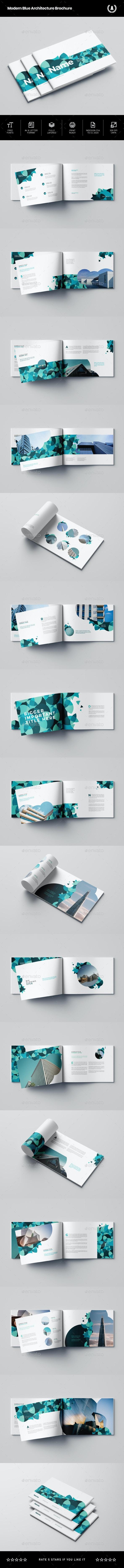 Modern Blue Architecture Brochure - Brochures Print Templates