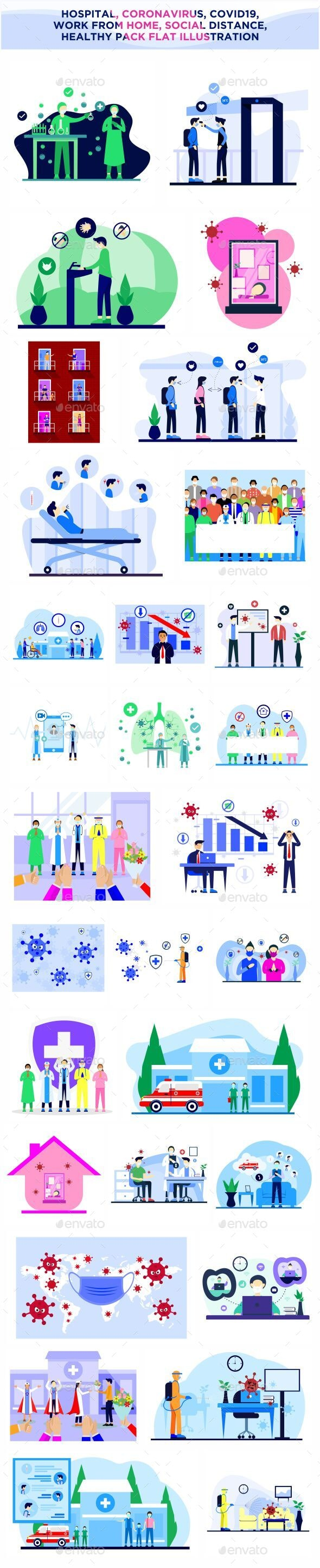 Pack Flat Designs about Coronavirus and Covid-19 - Illustrations Graphics
