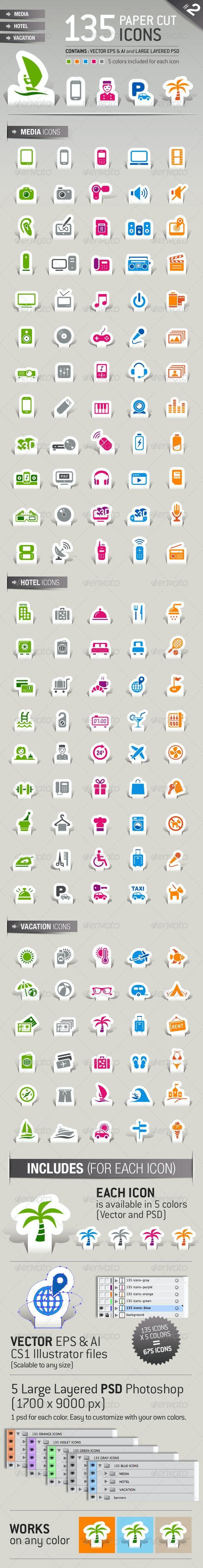 135 Papercut Icons - Icons