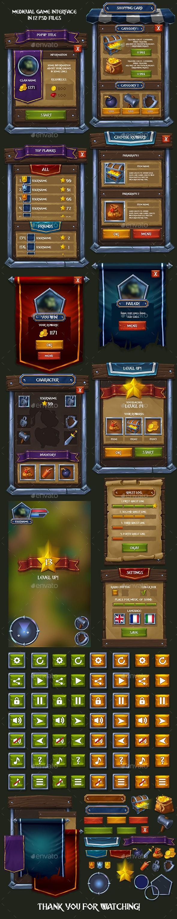 Medieval RPG Game Interface