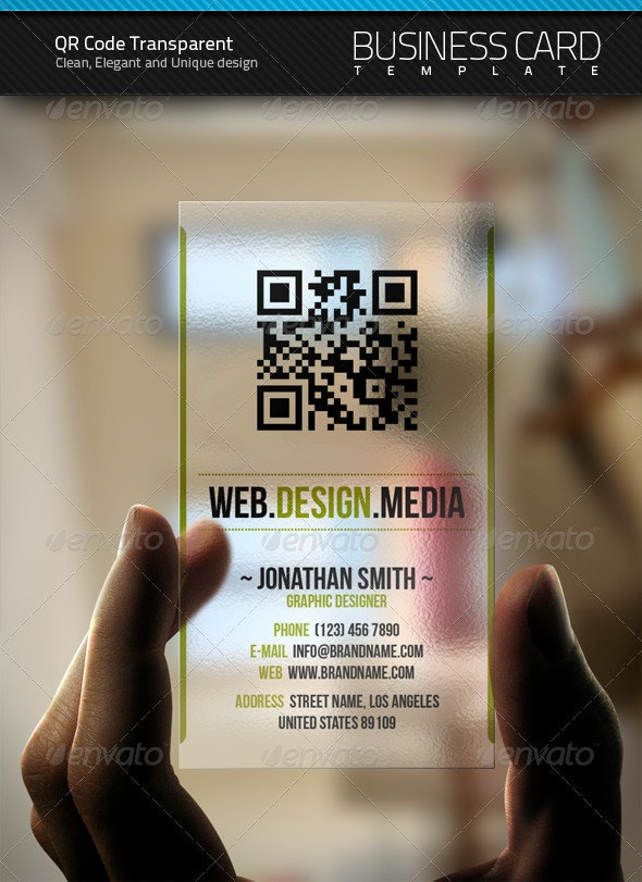 QR Transparent Business Card - Creative Business Cards