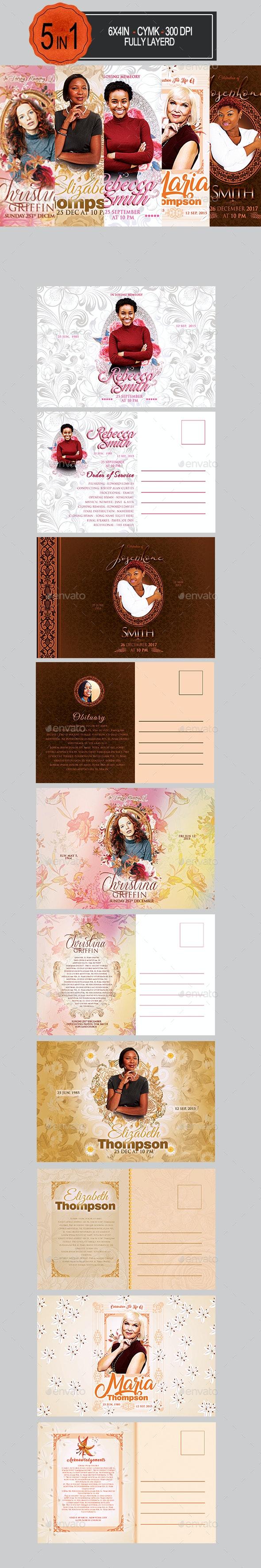 Funeral Postcard Bundle - Invitations Cards & Invites