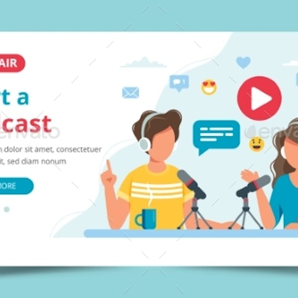 Podcasters Talking To Microphone Recording Podcast