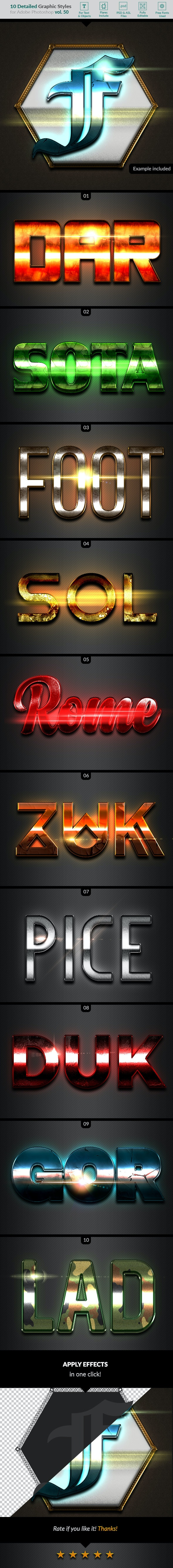 10 Text Effects Vol. 50 - Styles Photoshop