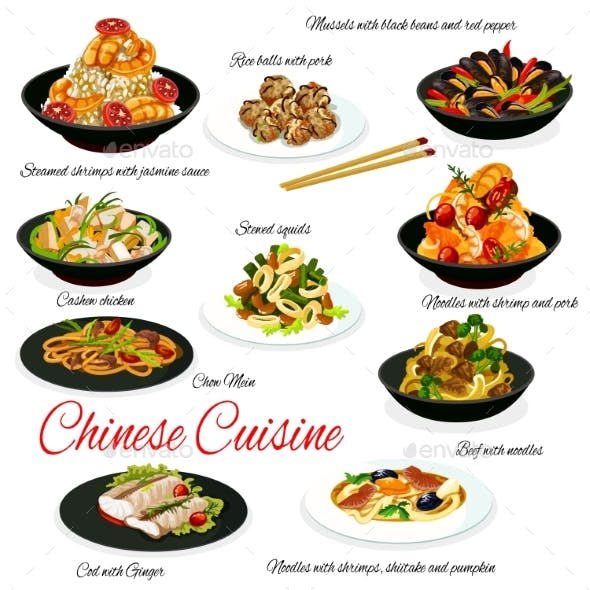 Chinese Cuisine Meat, Vegetables, Seafood and Rice