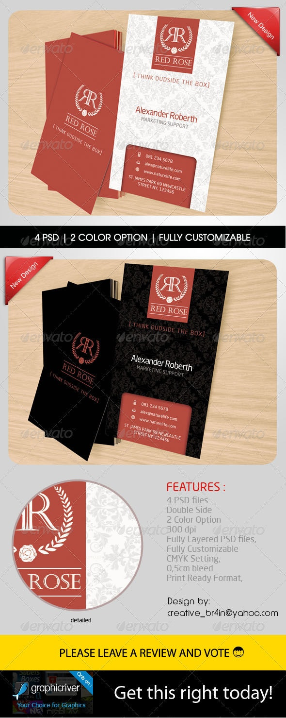 Red Rose Name Card - Business Cards Print Templates