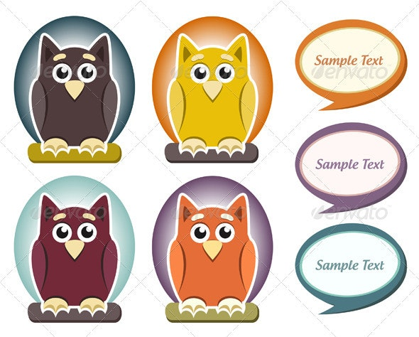 Cartoon Owl With Speech Bubble - Animals Characters
