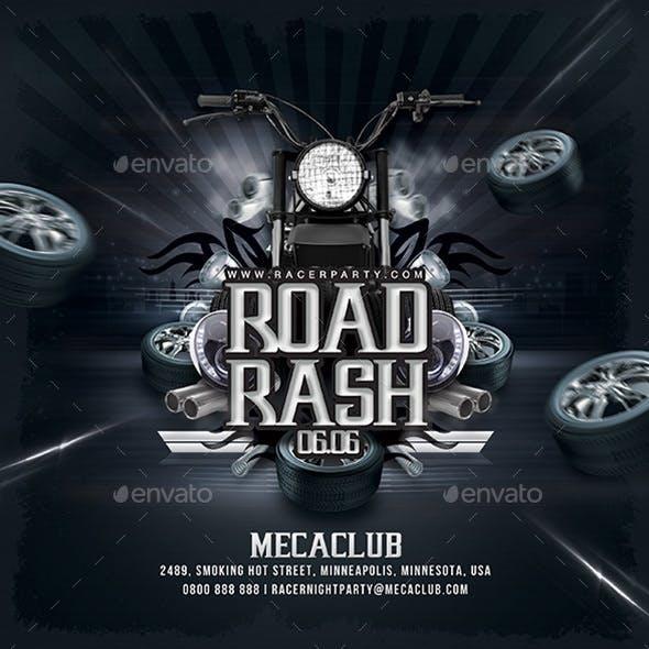 Road Rash Biker Party Flyer