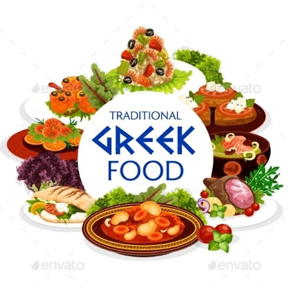 Greek Cuisine Vegetables, Meat, Seafood Dishes