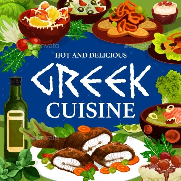 Greek Cuisine Food, Fish, Vegetable, Meat, Seafood