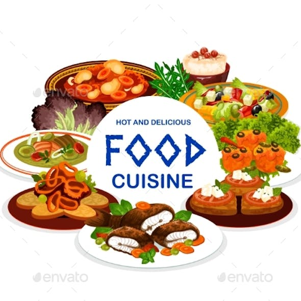 Greek Cuisine Food of Vegetable, Meat and Fish