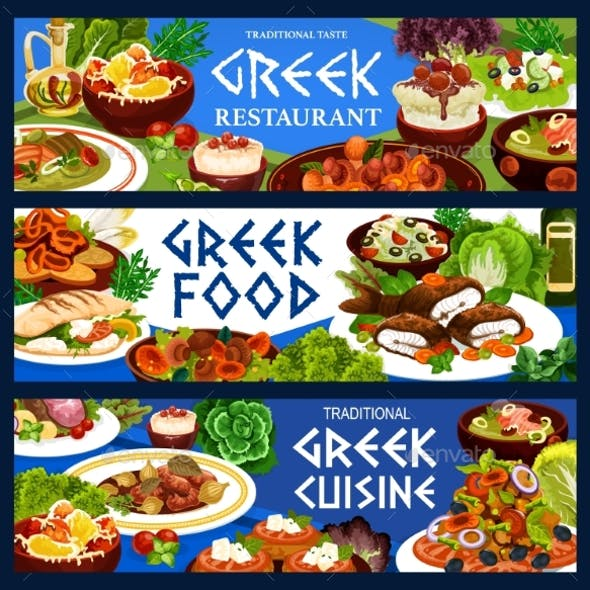 Greek Food of Vegetable, Meat, Fish and Seafood