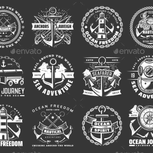 Nautical Icons with Sea Anchors, Chains and Ropes