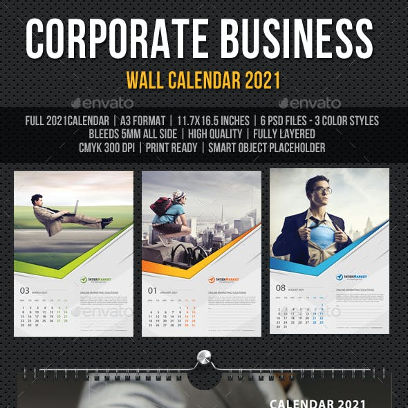 Corporate Business Wall Calendar 2021 V06