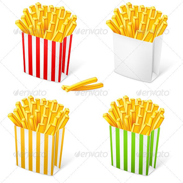 French fries in a multi-colored striped packaging