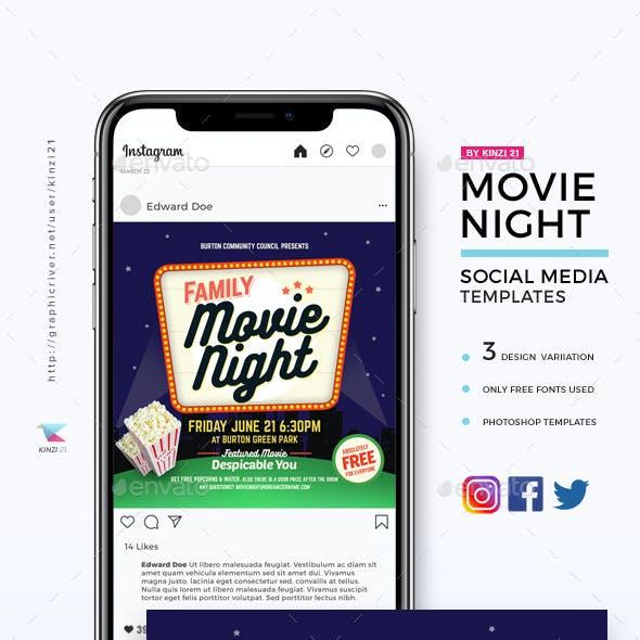 Movie Night Social Media Templates