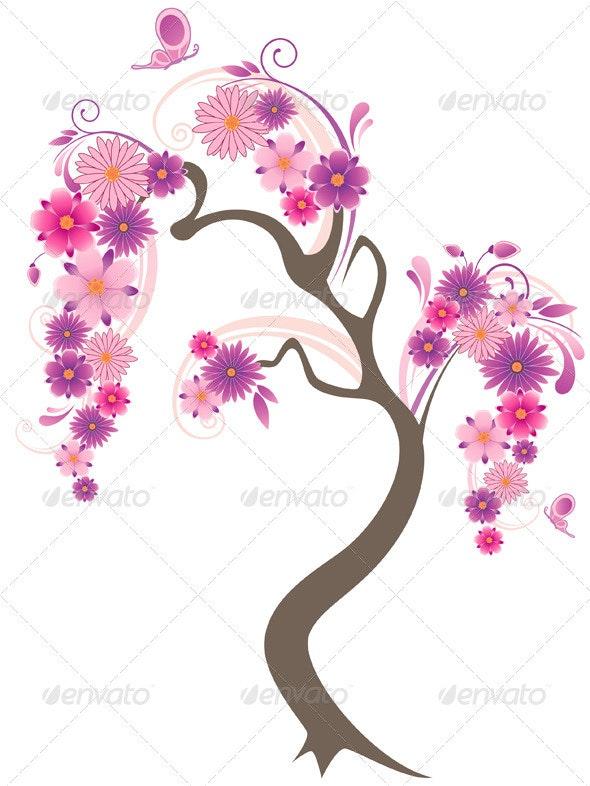 Flowering Tree and Butterflies  - Flowers & Plants Nature
