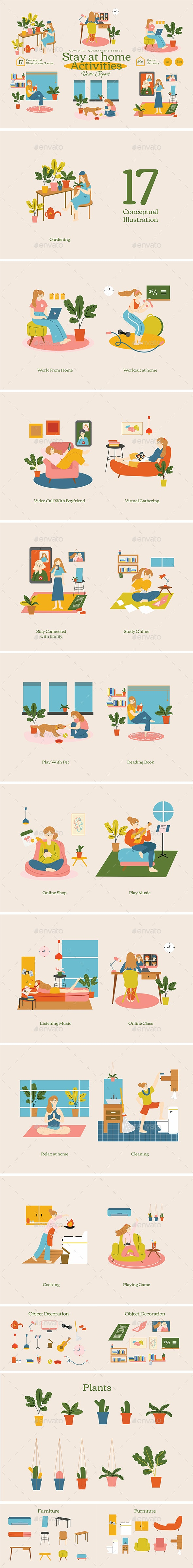 Stay At Home Activities Vector Clipart Covid-19 Quarantine Series - People Characters