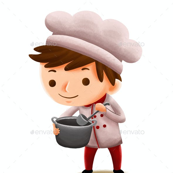 Chef Profession — Kids Illustration