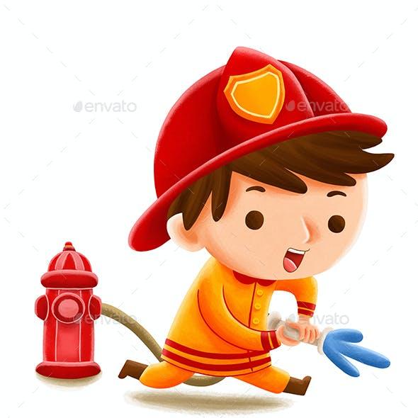 FireFighter Profession — Kids Illustration