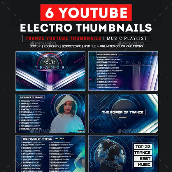 Youtube Thumbnail Templates - Trance Music Playlist/ Promote Artist