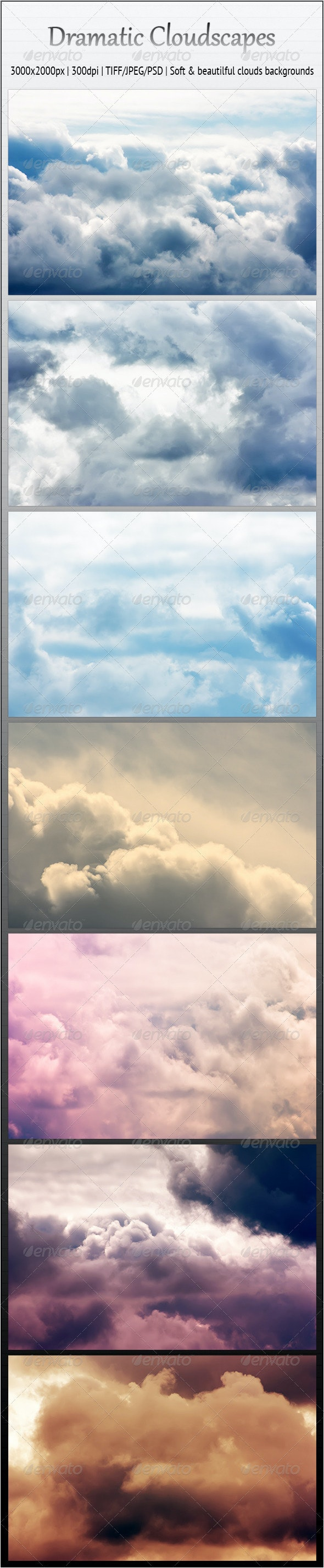 Dramatic Cloudscapes - 7 Soft Backgrounds - Nature Backgrounds