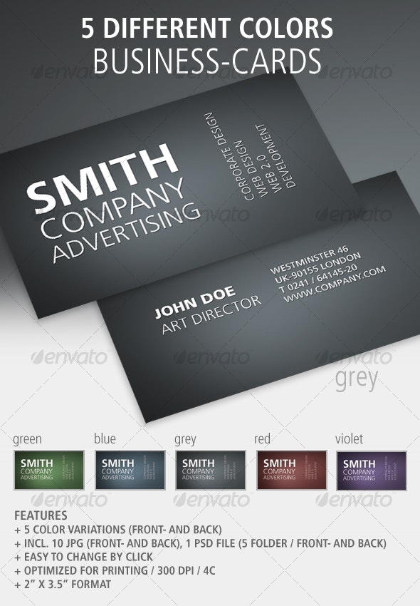 Set of 5 Plain Business-Cards Front & Back - Corporate Business Cards