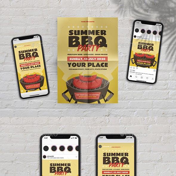 Summer BBQ Party Flyer Set