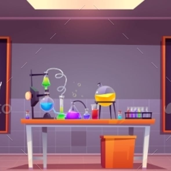 Chemical Laboratory Interior with Glass Flasks