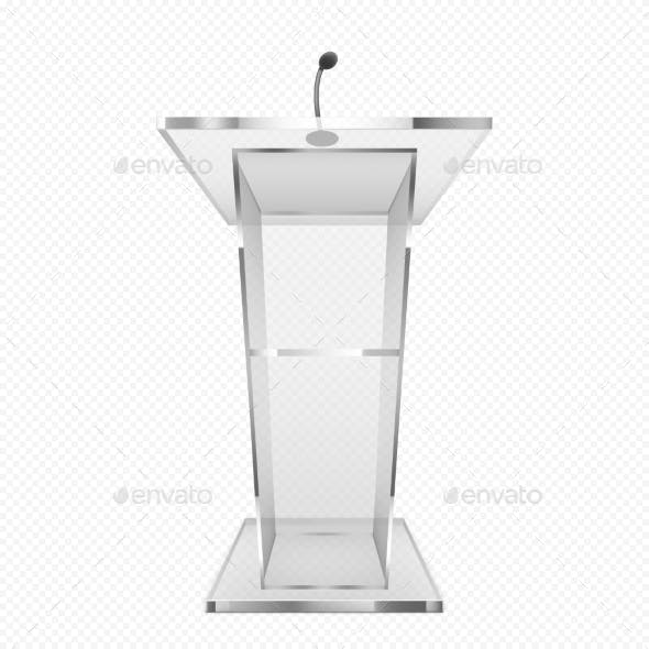 Glass Pulpit, Podium or Tribune Rostrum Stand