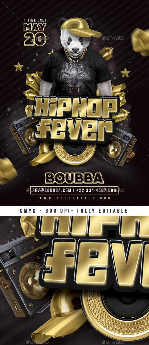 Hiphop Fever Club Flyer Template - Clubs & Parties Events