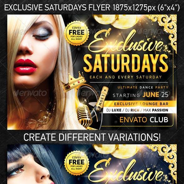 Exclusive Saturdays Flyer