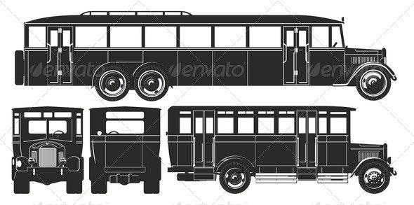 Retro Bus Set - Man-made Objects Objects