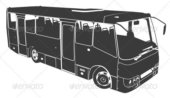Vector Bus Silhouette - Man-made Objects Objects