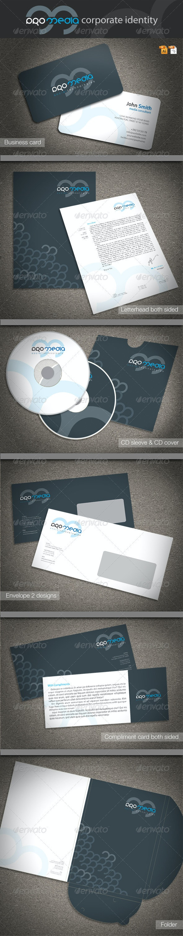 Pro Media Corporate Identity - Stationery Print Templates