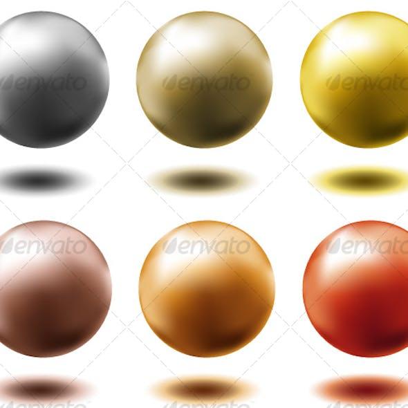 set of metal balls,...