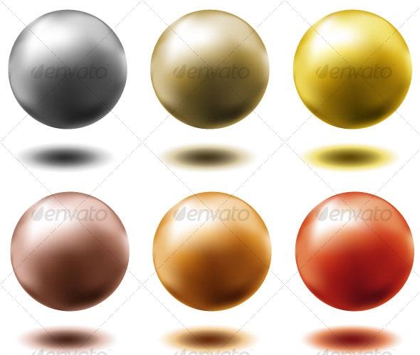 set of metal balls,... - Decorative Symbols Decorative