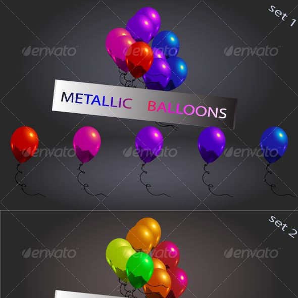 set of metallic balloons,...
