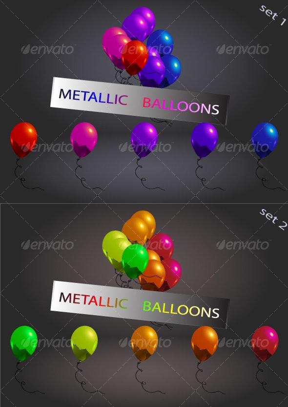 set of metallic balloons,... - Birthdays Seasons/Holidays