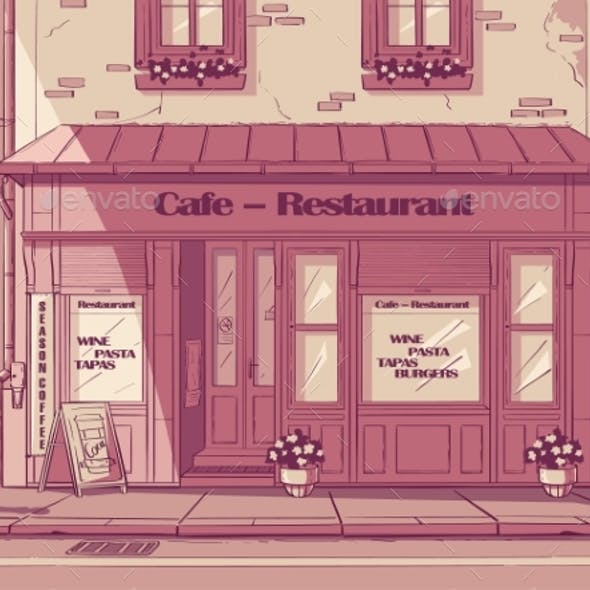 Vector Cartoon Background Cafe