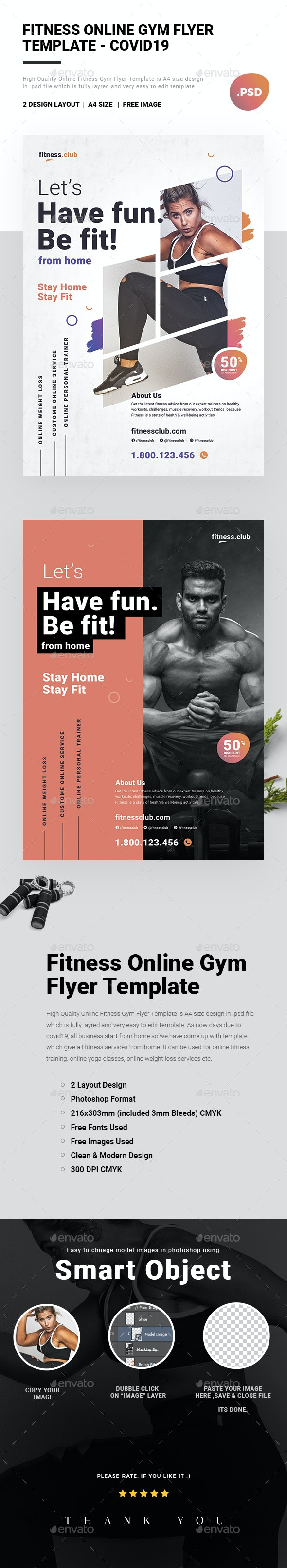 Fitness Online Gym Flyer Template - covid19 - Sports Events