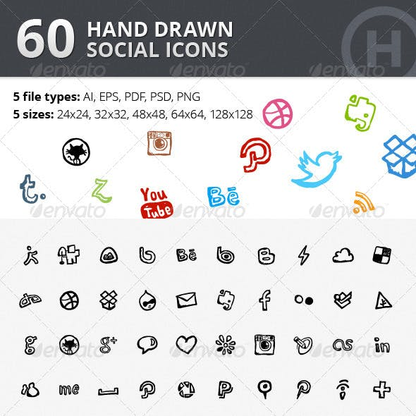 60 Hand Drawn Social Icons