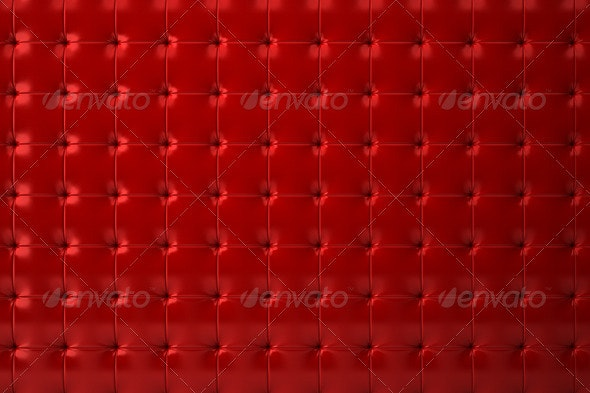 Red Tufted Leather Wall - Abstract 3D Renders