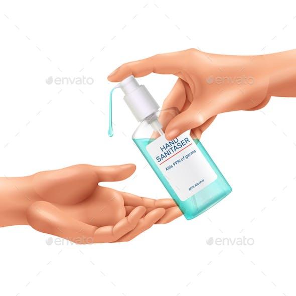 Hand Sanitizer Realistic Composition
