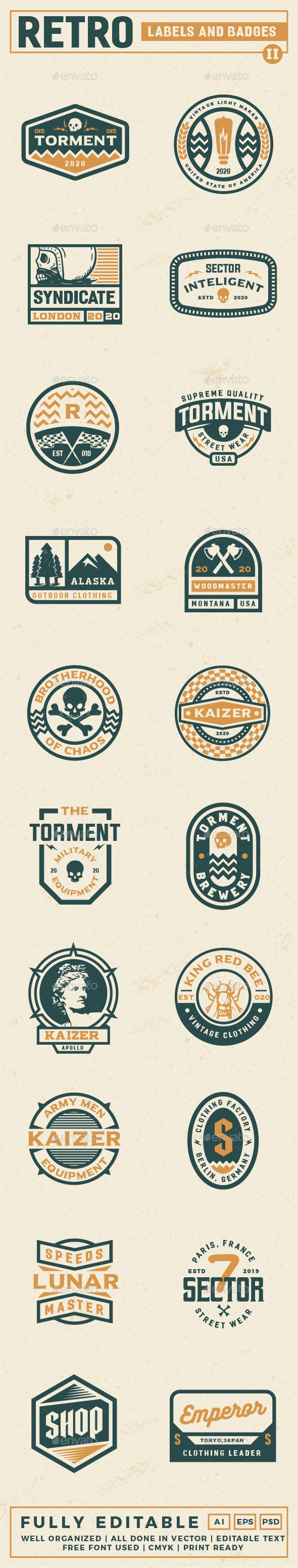 Retro Label and Badges Vol 2 - Badges & Stickers Web Elements