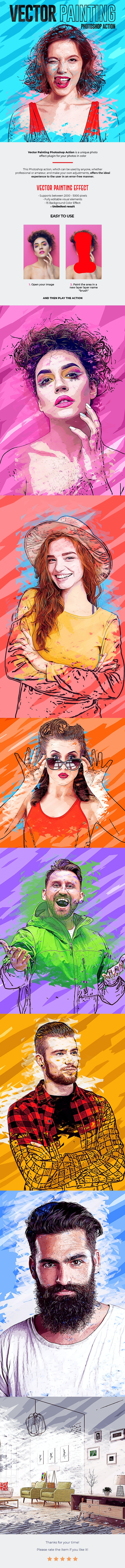 Vector Painting Effect Photoshop Action - Photo Effects Actions