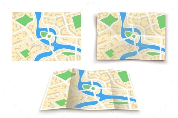 Paper Maps Set - Miscellaneous Vectors