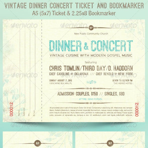 Vintage Dinner Concert Ticket Bookmarker