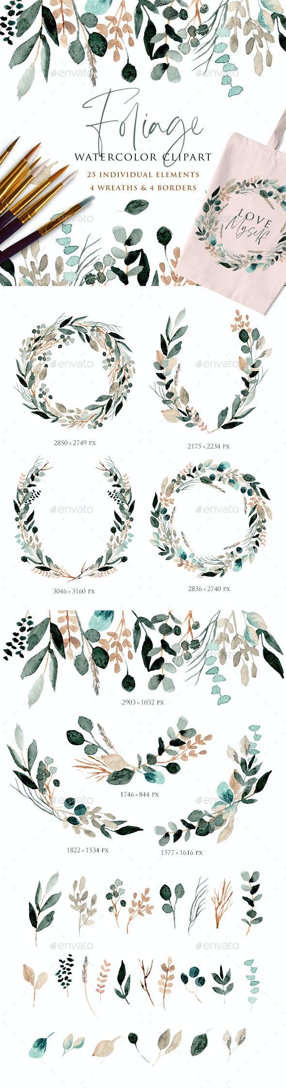 Foliage Watercolor Clipart - Illustrations Graphics