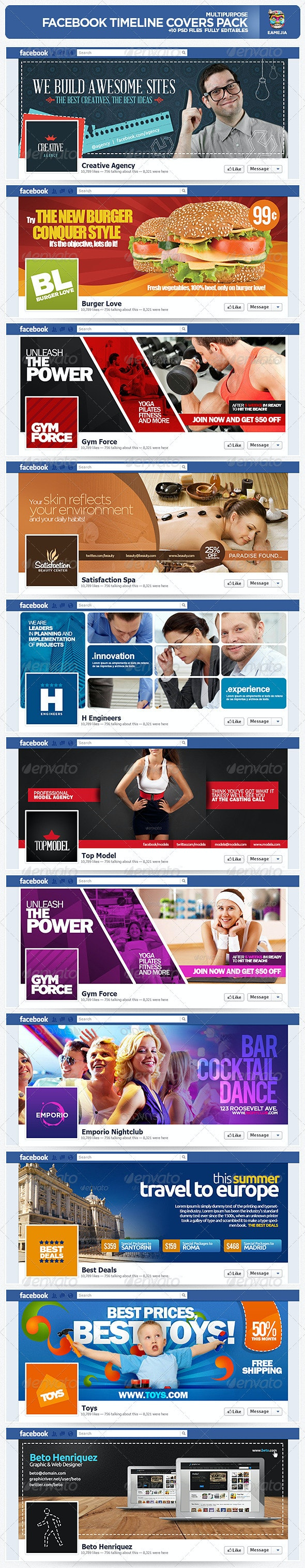 Multipurpose Facebook Timeline Covers Pack - Facebook Timeline Covers Social Media